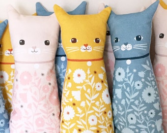 Plush Cat Doll Cushion, Yellow