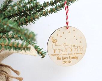 Deer Family Christmas Ornament, Rustic Woodland Deer Christmas decorations, Holiday decor, Blended Family Christmas Tree Ornaments