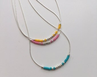 Beaded minimalist necklace, sterling silver chain with miyuki delica beads, layered or on its own, charm pendant