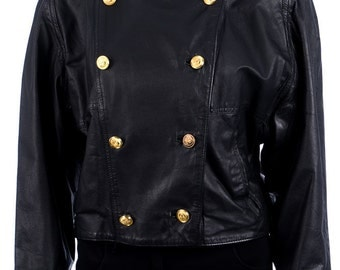 Vintage leather jacket with gold buttons - 80s vintage jacket - size XL - oversize look - black leather - jacket with stand-up collar
