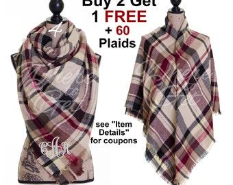 Plaid tartan Blanket Scarf, Oversized, Tan, brown, Tartan Scarf, Fall Plaid Scarf, Checkered ...