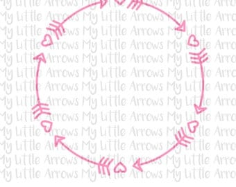 Heart circle arrow frame SVG, DXF, EPS, png Files for Cutting Machines Cameo or Cricut - ...