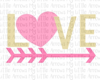 Love heart arrow svg - valentine svg - arrow svg - SVG, DXF, EPS, png Files for Cricut and Cameo ...