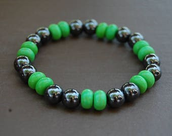 Magnetic Hematite Bracelet,Green Stone Beads,Man,Woman,health,Healing,Relieve,Protection,Meditation,Yoga,Stretch,Magnetic Bracelet,Gift