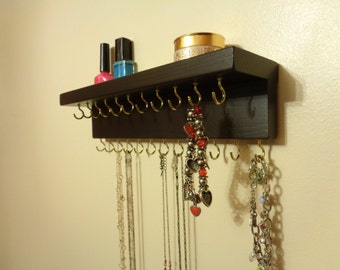 Jewelry Organizer - Necklace Holder - Jewelry Storage - With A Shelf - 23 Display Hooks- 30 Different Color/Finish Options - Ready To Hang