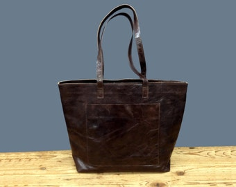 Sale!! Large leather tote bag Brown Leather tote Leather shopper bag front pocket bucket tote bag crossbody strap / Personalized - optional