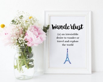 Definition Wanderlust Print, Tumblr Poster Meaning Wanderlust Typography Print Travel Print, Wanderlust Wall Art Explore Travel Quotes Print