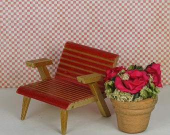 Doll house vintage garden chair flower pot 1950s red wood clay