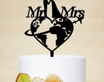 Travel themed Wedding Cake Topper, Mr & Mrs Cake Topper, Airplane Cake Topper, Personalized travelling Bride and Groom Cake Topper P169