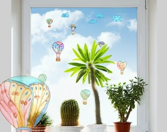 hot air balloons decals glass decals handpainted decals for glass sliding
