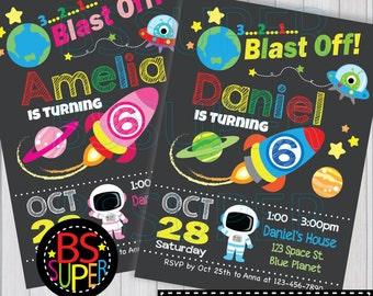 Outer Space Birthday , Space Invitation, Astronaut Party, Boy and Girl