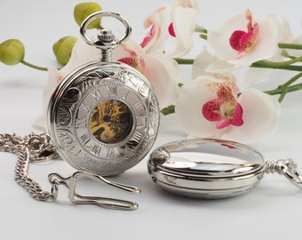 Custom Engraved Silver Skeleton Pocket Watch - Gift Boxed PW-17-M