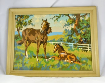 Horse Foal Paint by Number Country Scene - Vintage Mid Century 1960s - Framed under Glass