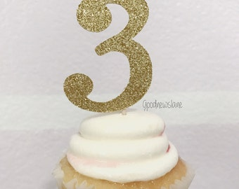 3 Cupcake Toppers, Birthday Decor, 3rd Birthday