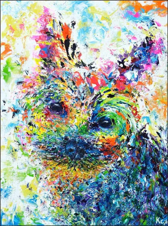 Yorkie Art Print. Psychedelic Art. Colorful Yorkshire Terrier Art Print entitled Huan. Wall Art. Dog Art. Decor. Yorkie Portrait.