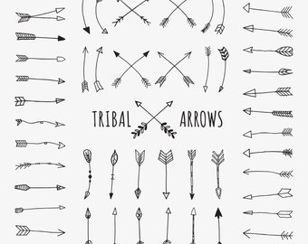 Tribal Arrows clip art, Doodle Arrows, Hand Drawn Arrows, 52 png images, aztec, black and white, tribal archery, wedding, scrapbook