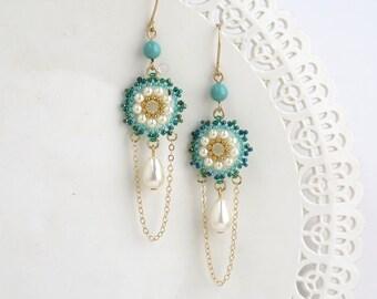 Long drop earrings, Long chain earrings, Turquoise bridal jewelry, Long earrings, Pearl drop earrings gold, Dangle drop earrings