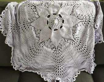 "Lace Doily Blanket, Round, Cotton, Lavender, Lap Blanket, 48"" Diameter, Baby gift"