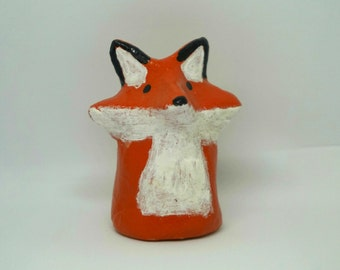 Small clay fox animal totem figurine