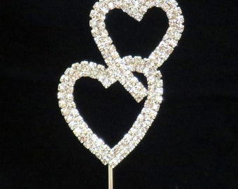 Small Double Heart Silver Rhinestone  Cupacke or Cake Topper  birthday love wedding