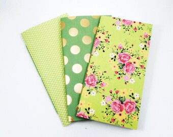 Green TN Inserts, Hand Stitched Travelers Notebook Set, Polka Dot Notebooks, Passport Pocket Personal Standard Cahier Size TN Refills