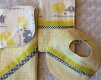 Sold.  Bib, Burp Cloth, Blanket Set Elephant Motif  I Love Mommy  Yellow, Gray, White Flannel, Polka Dots, Gingham, Ribbons Trendy Gift
