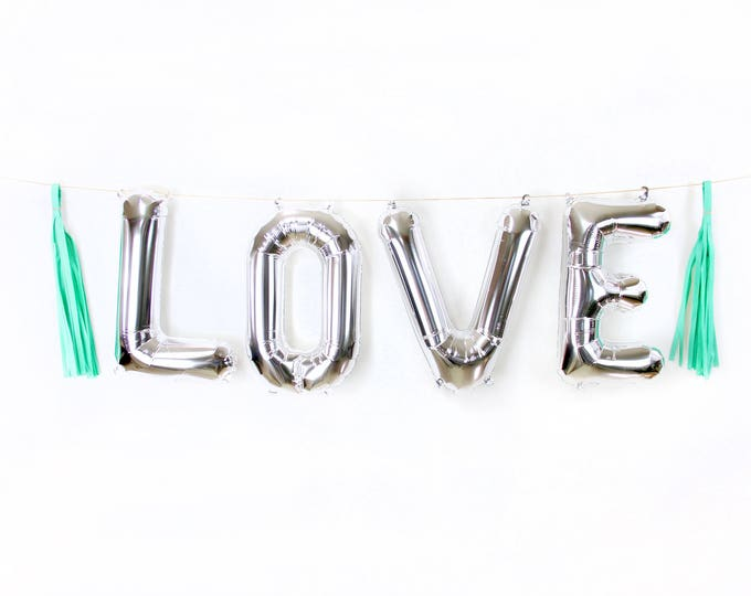 "16"" Silver LOVE Balloon, Letter Balloon, Silver Balloon Banner, Bridal Shower, Photo Booth Prop, Wedding Photo Prop, Boy Silver Baby Shower"