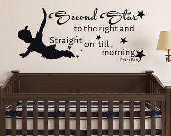 Peter Pan Quote Wall Decal Second Star To The Right And Straight On Till Morning Wall Decals Nursery- Wall Decal Kids Boys Room Decor - 165