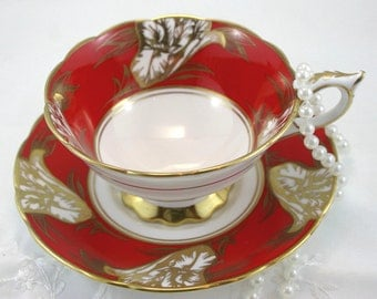 Royal Stafford, Footed Teacup & Saucer, Crisp Red Gilded Borders, Bone English China made in 1970s.