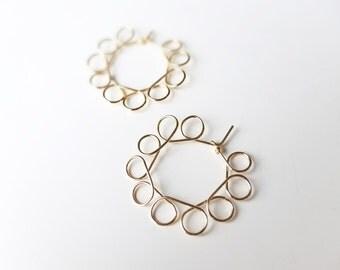 Gold plated  earrings. Hoop earrings. Modernist and Minimalist. Handmade.