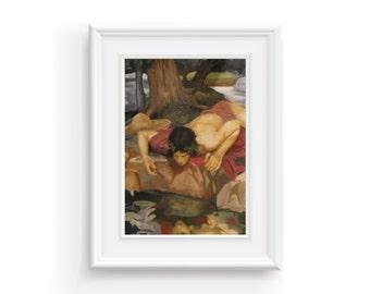 Oil Painting, print from original. Masters Painting, John William Waterhouse, Fine Art, 3D Art, Classic, Renaissance, Narcissus.