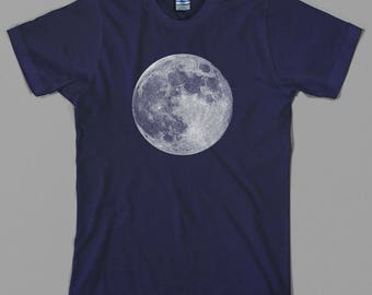 Full Moon T Shirt, nasa, astronaut, space, earth, planets, science, alien, gift, shuttle, apollo, gemini, Graphic Tee, All Sizes/Colors