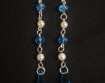 Fancy Blue & White Beaded Crystal Dangle Earrings