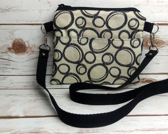 black and white small day bag/cell phone bag/cross body bag