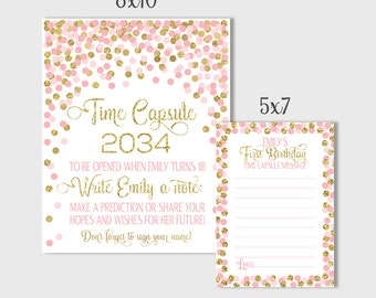Time Capsule Sign First Birthday Confetti Pink And Gold Time Capsule Sign Time Capsule Sign & Message Cards 1st Birthday Time Capsule