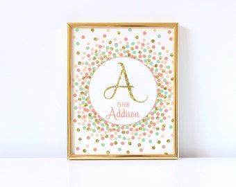 Custom Name Sign Initial Printable Letter A Sign Gold Coral Peach Mint Nursery Print Personalised Initial Print Baby Monogram Print Custom
