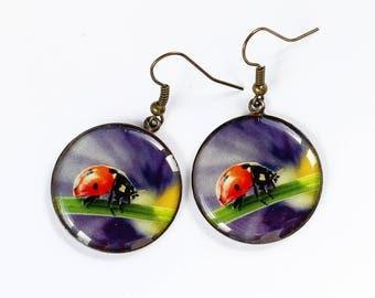 Purple earrings Ladybug earrings Flower earrings Summer jewelry Nature jewelry Unusual earring Woodland jewelry-for-girl gift-for-girlfriend