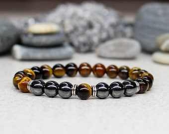 Energy healing bracelet Men birthday gift-for-dad gift-for-husband Tiger eye bracelet Gemstone bracelet Hematite bracelet Protection amulet