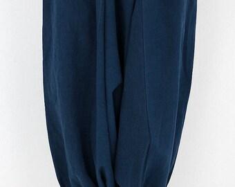 Antique indigo linen drop-crotch pants/balloon pants/over-dyed dark indigo/French linen/handmade/remade