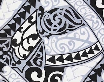 Maori Hawaiian Fabric Polynesian Tattoo Tapa Patterns Geometric Lavalava, White Gray Black, HPCN10028 Ask for bulk