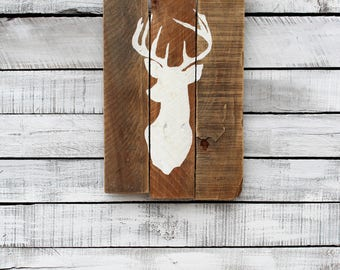 Reclaimed Pallet Wood Sign - Home Decor - Buck Head, Deer Head