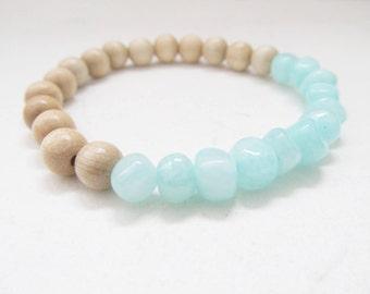 Agate bracelet, wooden bracelet, summer bracelet, turquoise bracelet