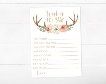 Wishes For Baby, Printable Baby Shower Game, Girl Baby Shower, Watercolor Floral, (374)