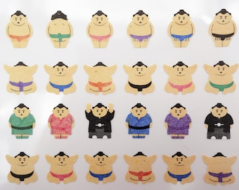 Japanese sumo stickers, kawaii stickers, washi paper stickers, sumo wrestler, cute rikishi men, Japan traditional sport, emoticon sticker