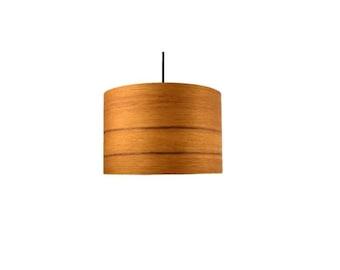 wood veneer lighting. teak or walnut real wood veneer large drum shade lighting