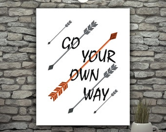 Rock Music Quotes, Song Lyrics Print, Go Your Own Way Fleetwood Mac Poster, Orange And Black Gray Wall Decor Arrow Wall Art Rock Band Poster