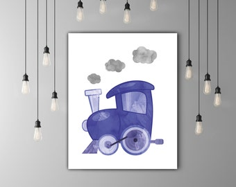 Kids Train Nursery Watercolor Print, Locomotive Kids Room Art, Nursery Poster, Boy Room Decoration, Dark Blue Gray Watercolor Wall Art