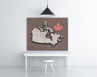 Canada Art Gift, Maple Leaf Print, Canada Map Poster, Travel Art Print, Canadian Flag Wall Art, Travel Artwork, Canada Day, Download Print