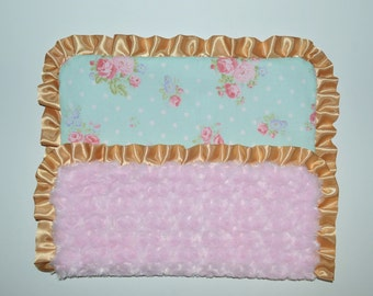 "Pink and Blue Minky Baby Blanket, Shabby Chic Baby Blanket, SHIPS TODAY, Lovey Blanket 15"" x 19"""