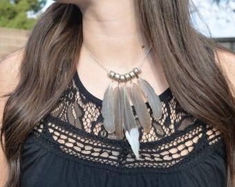 Wild Turkey Feather Suede & Chain Necklace / 100% Cruelty FREE